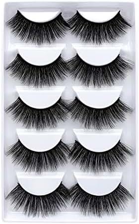 3D Mink False Eyelashes Luxurious Cross Thick Long Fake Eye Lashes Eye Makeup-5 Pairs (5pair 802)