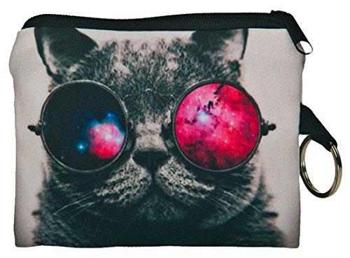 Kukubird galaxia gafas gato diseño impresión Plaza monedero billeteras