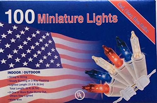 - Nantucket 100 RED White Blue Lights Minature July 4th Christmas Mini Indoor/Outdoor