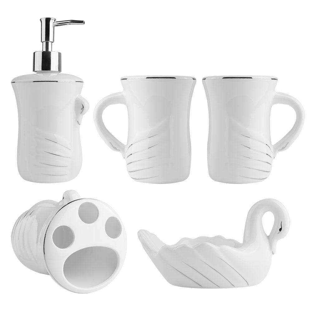 Dispenser per Sapone e Bicchiere Zoternen 5 Pezzi Set di Accessori per Bagno in Ceramica Include portasapone in Stile Cigno Bianco portaspazzolino