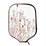 YOLIYANA Doodle Durable Racket Cover,Wedding Themed Floral Illustration with Cute Little Hearts Blooming Abstract Art for Sandbeach,One Size