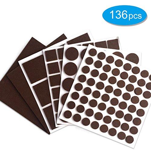 TESIN Furniture pads Felt pads Felt Furniture pads for hardwood floors,Self-Stick 136 Piece