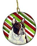 Caroline's Treasures LH9247-CO1 French Bulldog Candy Cane Holiday Christmas Ceramic Ornament, Multicolor