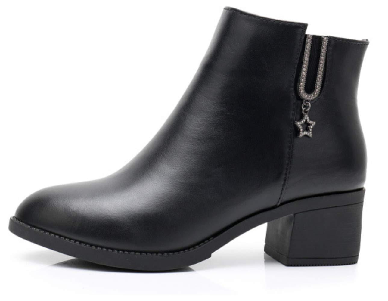 Shiney Damen Damen Damen Leder Chelsea Stiefelies Weibliche Chunky Ferse Slip Plus Samt Warme Nackte Stiefel Herbst Winter 8a3922