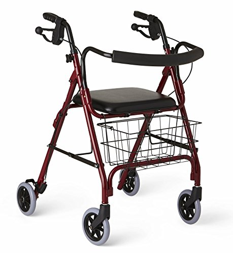 - Medline Deluxe Folding Rollator Walker, Burgundy Red