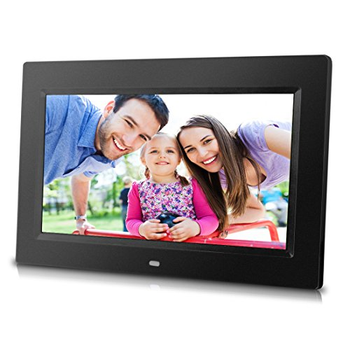 10 inch Digital Photo Frame with Remote Control, High Resolution 1024×600 LCD screen, Built-in Slideshow & adjustable Interval Time, Wall-mountable, Easy Set-up (Black)