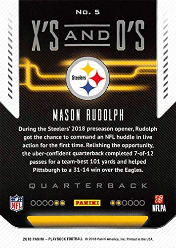 cce7f4f0c Amazon.com  2018 Panini Playbook Xs and Os  5 Mason Rudolph Steelers NFL  Football Card NM-MT  Collectibles   Fine Art