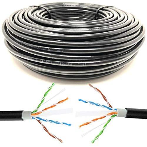 AWG24 CCA Tronic 100m Cable de Instalaci/ón Red Ethernet Bobina para Exterior UTP Mr CAT6 Color Negro 100 Metros