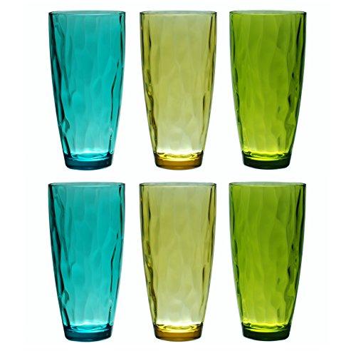 QG 23 fl oz BPA Free Acrylic Plastic Iced Tea Cup Glass Tumbler Set of 6 - Assorted Colors DF131