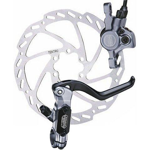 Tektro Auriga Pro Bremse, in grau vorne, grau, 180 mm Disc