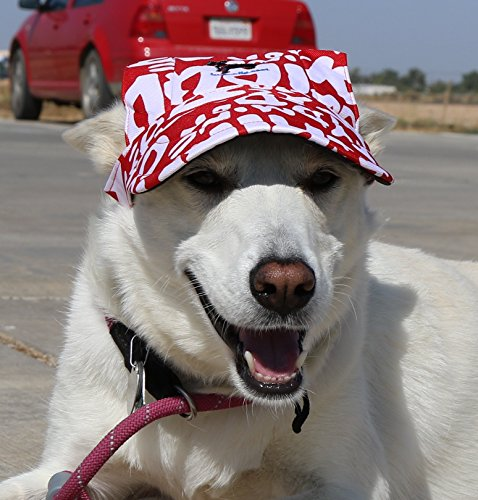 LoveWally Dog Outdoor PET Hat ♦ Adjustable Authentic Colors (Large, Red Print) by LoveWally