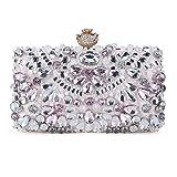 Chichitop Women Crystal Evening Clutch Bag Wedding Purse Bridal Prom Handbag (Pink)