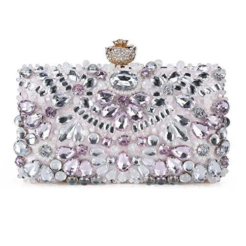 (UBORSE Women Crystal Evening Clutch Bag Wedding Purse Bridal Prom Handbag (Pink) )