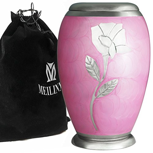 Ascot Pink WIth Silver Rose, Cremation Urns Adult Ashes Large Memorials Urn - Handcrafted Funeral Urn for Human Ashes Adult - Hand Made in Brass - Display Burial Urn At Home or in Niche at Columbarium -