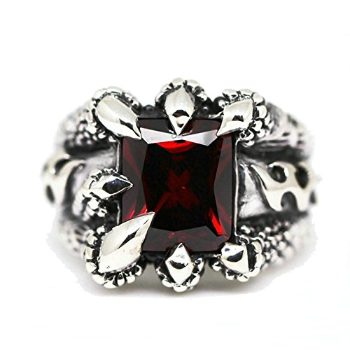 Bishilin Men's Ring Silver Plated Paw with Rectangle Red Gem Partner Rings Silver Size 9