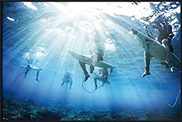 Surfers – Framed Inspirational Poster Print Underwater Shot of Surfers Size 36 inches x 24 inches