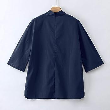 Camisas Hombres, Dragon868 Cuello En V Lino Blusa Manga 3/4 Camisa Top Sin Cuello de Color Sólido Blusas Suelta Camisas de Trabajo Suave Cómodo Transpirable, Beige/Blanco/Gris/Azul, M-XXXXXL: Amazon.es: Ropa y accesorios