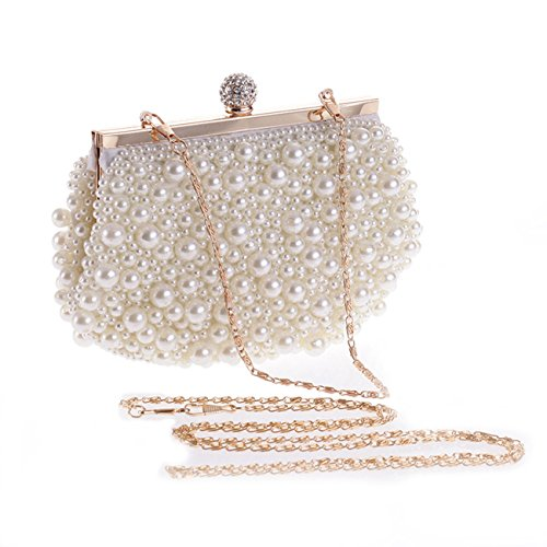 Evening Bag, Fit & Wit Artificial Pearl Clutch Purse Handbag Shoulder Bag for Women