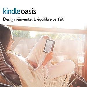 """Liseuse Kindle Oasis avec étui de chargement en cuir noyer, Écran Haute Résolution 6"""" (15 cm) 300 ppp avec éclairage intégré et Wi-Fi"""