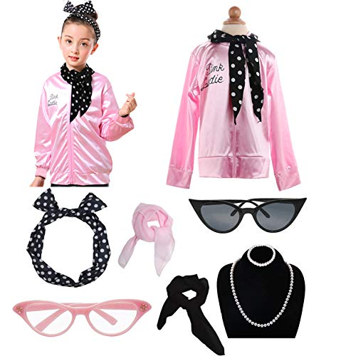 Grease Girls 50's Pink Ladies Costume Jacket Outfit Set (L, -