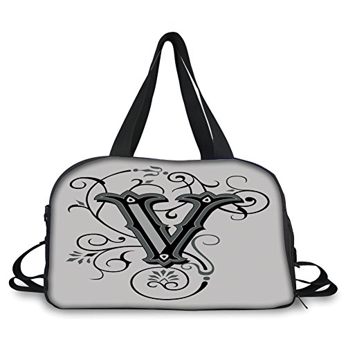 iPrint Travelling Bag,Letter V,Gothic Halloween Style Uppercase V with Curved Lines Ivy Stripes Calligraphy Decorative,Black Grey White ,Personalized -