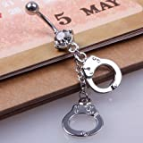 New Handcuffs Crystal Style Navel Belly Button Barbell Rings Body Piercing Gift