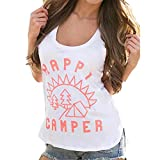Women Vest, Perman Summer Sexy Sleeveless Tank Crop Tops T-Shirt (Small=US 4, White B)