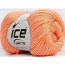 Lot of 6 Skeins ICE YARNS Baby Merino Deluxe Light Orange
