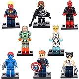 Pop MiniToys Set - Wolverine CaptainMarvel IronMan RedSkull WinterSoldier Mystique Model Minifigures Building Brick Blocks Toy for Children, 8Pcs/Set ABS Plastic Multi-color