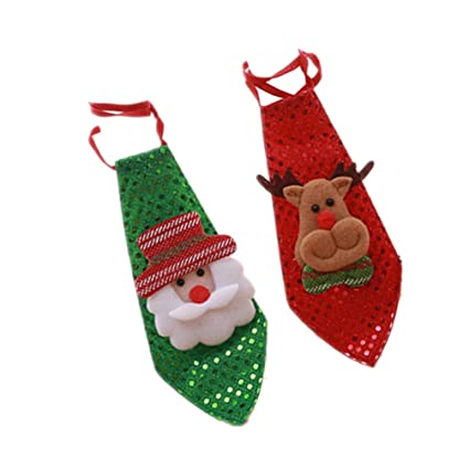 2 cravatte natalizie con paillette per bambole cravatte natalizie per feste dei bambini NUOBESTY Nuovesty
