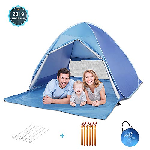 MOICO Beach Tent, UV-Proof Pop Up Beach Tent,Fit 3-4 Persons with 6 Aluminium Alloy Stakes pegs, Portable Automatic Sun Tent