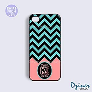 Personalized Your Initials Case Cover For SamSung Galaxy Note 4 model - Green Black Chevron Bottom Coral