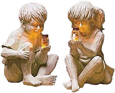 Garden Children Solar Lighted Firefly Jar Boy Girl Statue Whimsical Flowerbed Yard Outdoor Sculpture Decor