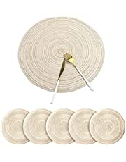 Fachoige 12 Inch Round Placemats For Dining Table Set of 6 Braided Fabric Round Table Placemat Table Mats Washable Round Braided Placemats for Dining Table Heat Insulation Kitchen Table Mats (Beige, 6pcs)
