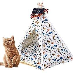 Tienda Tipi para Perros Tienda Tipi para Gatos, Tipi para Mascotas Cama para Gatos Y Cachorros para Perros, Casas Portátiles para Mascotas, Casas De Lona De Algodón para Mascotas con Alfombra,S