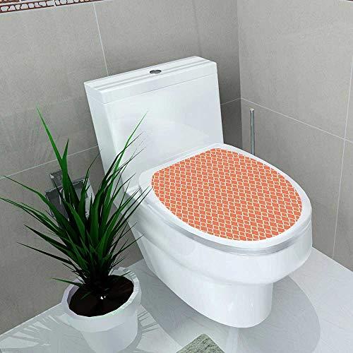 Toilet Sticker Geometric Diagonal Checkered with Squares on Orange Modern Geometrical Orange White Home Decor Applique Papers W8 x L11