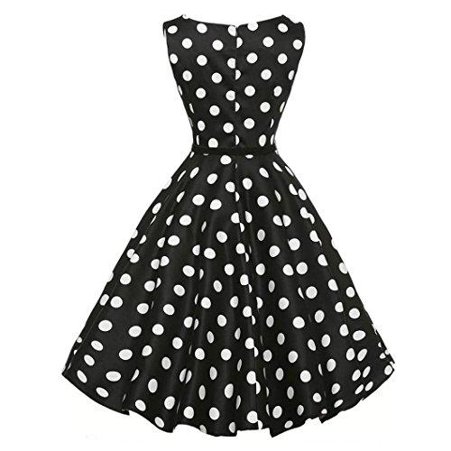 , ღ ღ ! Vintage Bodycon Sleeveless Casual Retro Evening Party Prom Swing Dress T-Shirt Skirt Blouse Tops (XXL, Black 2) ()