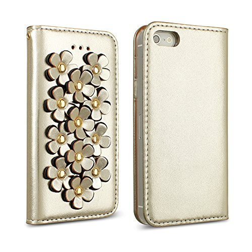 iPhone 5 / 5S / SE Case, DesignSkin Wetherby [Flower Patch] Genuine Cow Leather 100% Handcrafted Unique Luxurious Design ID Credit Card Paper Bill Slot Wallet Case (Gold)