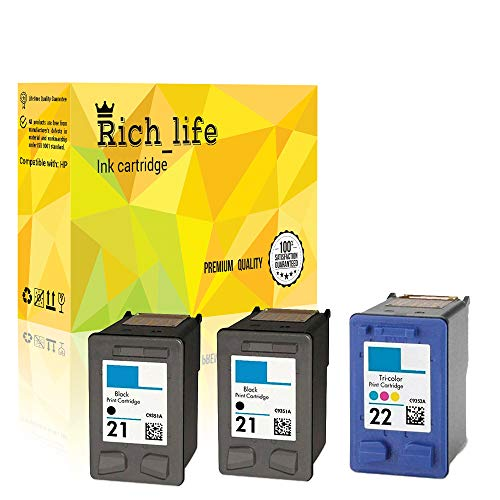 (Rich_life Remanufactured Ink Cartridge Replacement for HP 21 22 HP21 HP22 C9351A C9352A for HP Printer PSC Officejet Deskjet 3 Pack(2 Black+1Tri-Color))