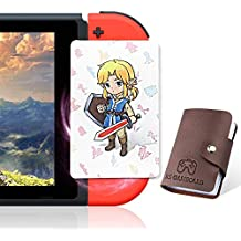 24 Pcs NFC Tag Game Cards for the legend of Zelda Breath of the Wild BOTW, TLOZ Series NFC Tag Game Cards, Portable Leather Holder with Young Link for Switch/Lite Wii U