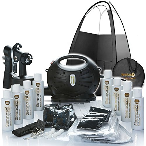 Spray Tan Machine | Rapidtan System Professional HVLP Spray Tan Kit with Supplies | Sticky feet, Tanning Tent, Airbrush Gun, 6 X Sunless Spray Tan Solutions by Siennasol Ltd.