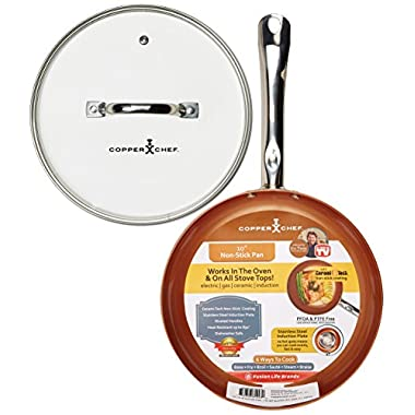 Tristar Products KC15057-02000 Round Chef Pan with Glass Lid, 10 , Copper