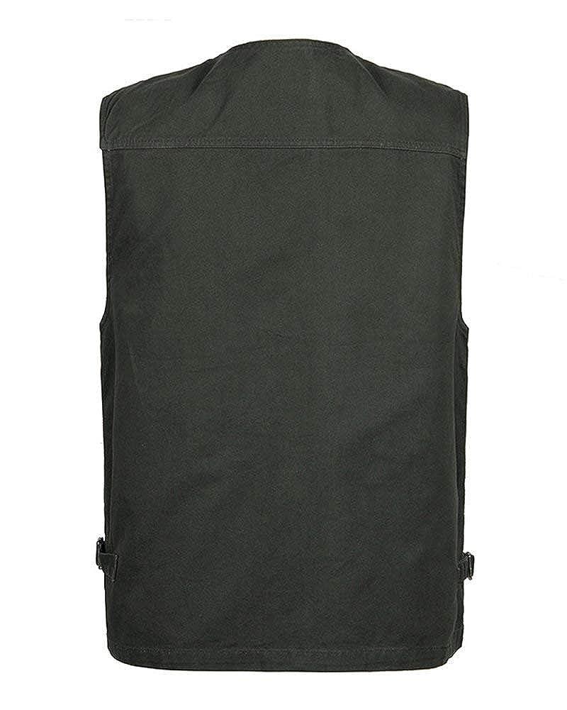 HX fashion Gilet sans Manches en Plein Air pour Tailles Confortables Hommes avec De Nombreuses Poches F R P/êche Photographie Multifonction Gilet Casual Chasse P/êche Camping Gilet Vetement