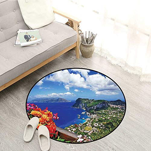 - Island Indoor/Outdoor Round Rugs Scenic Capri Island Children Crawling Bedroom Rug 3'3