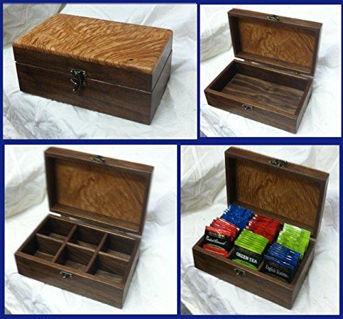 Classic Tea Packet Box - Black Walnut & figured maple, Handmade # 1090