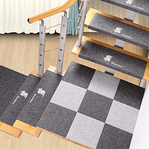 BEAUTIFUL TIME Stair Treads Carpet Non-Slip Step Pad from Glue Self-Adhesive Stairs Rotating Household Anti-Slip Mat Solid Wood Non-Slip Non-Woven Fabric Stairs 1 pcs (Color : C Size : 60254CM)