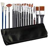 Magicdo 18 Pcs Professional Paint Brushes Set with Painting Knife and Paint Brush Holder, Flexible Artist Acrylic Brush Nylon Paint Brush Set for Watercolor Oil Acrylic Painting