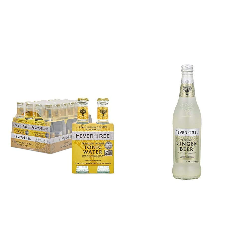 Fever-Tree Premium Indian Tonic Water, No Artificial Sweeteners, Flavourings or Preservatives, 6.8 Fl Oz (Pack of 24) & Premium Ginger Beer - 500mL Bottles, Pack of 8 - Premium Cocktail Drink Mixer
