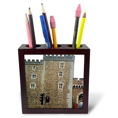 3dRose Jos Fauxtographee- Cardiff Wales Castle Wall - The Outer Walls of The Cardiff Castle in Wales on a Main Street - 5 inch Tile Pen Holder ()