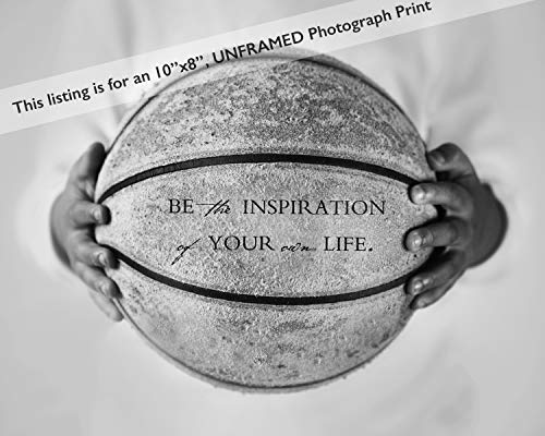 - Basketball Sports Art Print with Inspirational Quote - Inspiring Office Dorm Bedroom Decor Photo